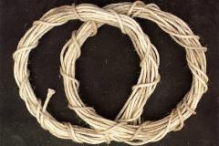 Twisting/Cording, 1992 hemp rope, glass, white sand-stone, 140 x 120 cm