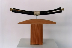 Wedging - Bending I, 1998, wood, rope, 40x 45 x 7 cm