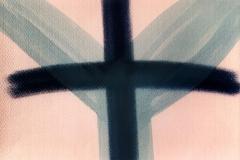 Fork – cross II, 1990, chalk, soot, 50 x 75 cm