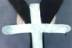 Overlapping, 1991, chalk, soot, email, 50x75 cm
